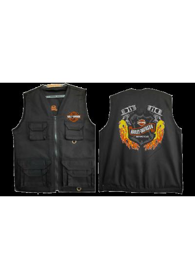 COLETE SAFARI PRETO BORDADO FRENTE E VERSO Harley-Davidson